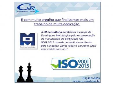 Auditoria da Dominguez de manutenção da ISO 9001:2015